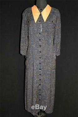 Rare Vintage Deadstock 1950's Black Rayon Gabardine Line Print Dress Size 16-18