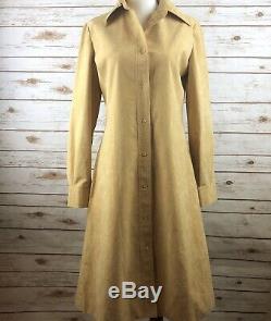 Rare! Vintage HALSTON Women's Ultrasuede A-Line Dress Camel Color Size M EUC