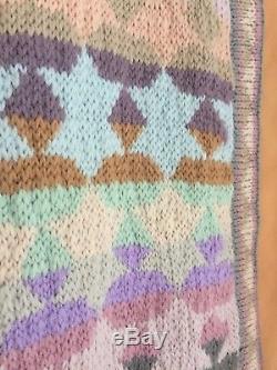 Rare Vintage Handknit Coat Jacket Cardigan lined wool Kaffe Fassett Festival