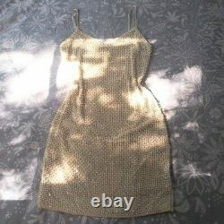 Rare Vintage Victoria's Secret Beaded Pearls and Satin Mini Bodycon Dress