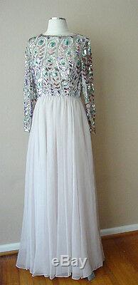 Retro Vintage Victoria Royal Ltd. Sheer Sequin Lined Evening Cocktail Dress Gown