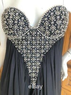Roberto Cavalli Embellished Corset A Line Short Black Cocktail Dress
