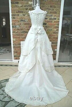 Romantica vintage WEDDING DRESS size 12 Ivory A-line PRINCESS rrp £2000+