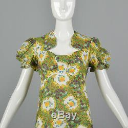 S 1970s Floral Summer Dress Short Sleeves A Line Skirt Lightweight Easter 70s
