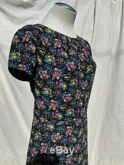 SAINT LAURENT Black Silk Crepe Floral Print Vtg Short Sleeve Cocktail Dress 38/6