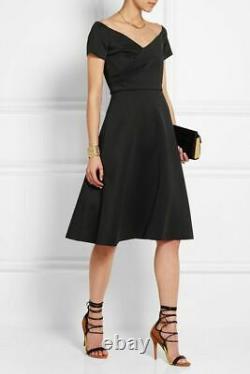 SALONI NWT Black Rachele Neoprene Off Shoulder Vtg Midi Cocktail ALine Dress 10