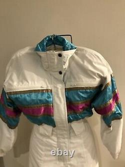 SKEA Snowsuit Women sz 4 One Piece SKI SUIT Small GUC VTG White Blue Pink Gold