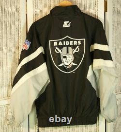 STARTER Vintage 90s Oakland Raiders Warmup Jacket Mens M Half-Zip NFL Pro Line