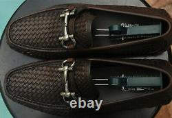 Salvatore Ferragamo mans Woven leather Antique Brown loafers brand Size 10. EE