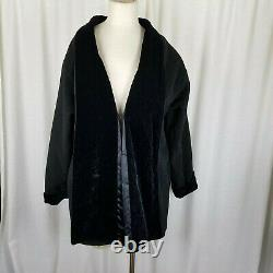 Samii Clothes Gay Ellis Black Velvet Wool Swing Coat Peacoat Womens S Vintage