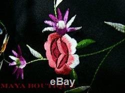 Silk Kimono Duster Coat Kimono All Embroidered & Lined Black Maya Matazaro
