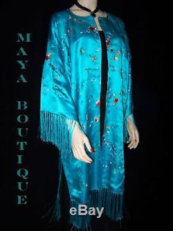 Silk Kimono Duster Coat Kimono All Embroidered & Lined Turquoise Maya Matazaro