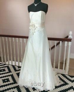 Silk Wedding Dress Size 12 Strapless Lace A-line Vintage Bridal Gown Nicola Anne