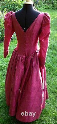 Silk dress evening ball gown bridesmaid vintage style midi handcrafted rust red
