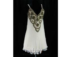 Size 10 Designer Dress Sumptuous Ivory Silk Chiffon & Beaded Wool A-Line