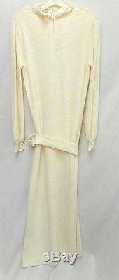 St John Knit VINTAGE Off White Novelty Santana Knit A-Line DRESS BELT SZ 6 8