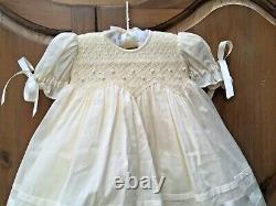 Strasburg Boutique Vintage Seed Pearl Smocked Dress Satin Bow Detail Lined 3M