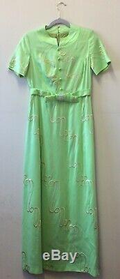 Stunning 1960s Apple Green Silk Shantung Empire Line Dress UK 8