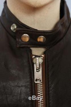 Superb Vtg SCHOTT Leather Cafe Racer Motorcycle Jacket Fleece Lined Medium