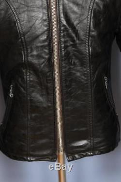Superb Vtg SCHOTT Leather Cafe Racer Motorcycle Jacket Fleece Lined Small