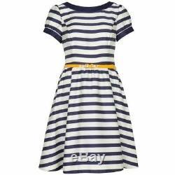 TED BAKER breton stripe fit & flare full skirt belt dress vintage day tea 4 14 L