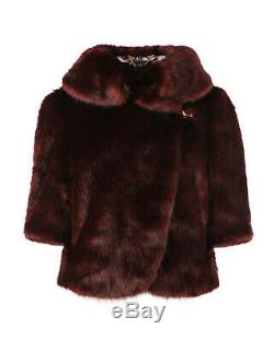 TED BAKER brown faux fur jacket dress coat wedding party bridal vintage 5 16 XL