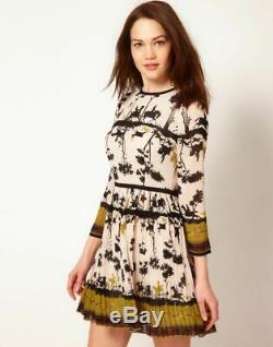 TED BAKER cameo silhouette equestrian horse hunting print pleat skirt dress 4 14