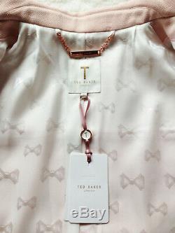 TED BAKER pale pink black A-line dress coat jacket retro vintage wedding 2 10 S
