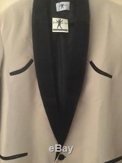 TEDDY BOY DRAPE JACKET CREAM WITH BLACK VELVET TRIM 1950s NEW LINE
