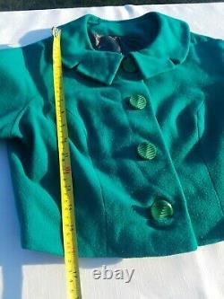 True Vintage! 1950's Rona Joan Dorris 2-piece Jacket A-Line Dress Bows Green S 4