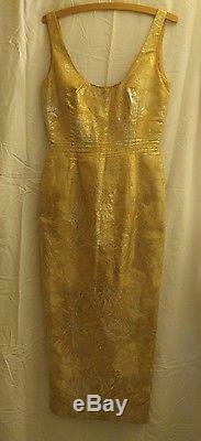 True Vintage Pin Up Cocktail Bodycon Dress Gold Threads Fully Lined 28 Waist