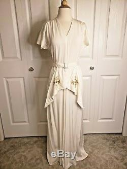 True Vtg 40s Ivory Rayon Party Lines Emma Domb Dress Wedding Art Deco M VLV