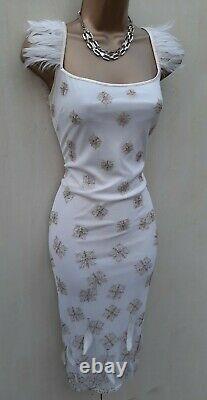 UK 10 Karen Millen Rare Ivory Vintage Gatsby Beaded Feather Wedding Pencil Dress