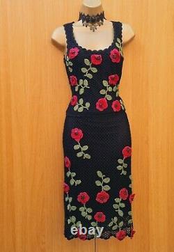 UK 10 Vintage KAREN MILLEN 2 Crochet 3D Floral Top Skirt 2 Piece Set DRESS UP