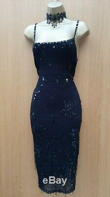 UK 8-10 KAREN MILLEN 1 Black Knit Crochet Sequin Beaded Vintage Wiggle Dress