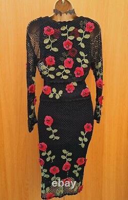 UK 8-10 Vintage KAREN MILLEN 1 Crochet 3D Floral Top Skirt Shrug Set DRESS UP