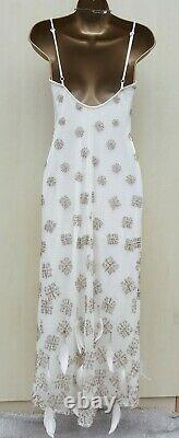 UK 8 Karen Millen Cream Vintage Gatsby Beaded Feather Long Maxi Wedding Dress