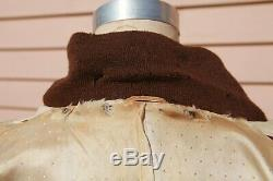 Unusual 1940s Fully lined Striped Linen Jacket with Knit Lapel Collar SZ 40