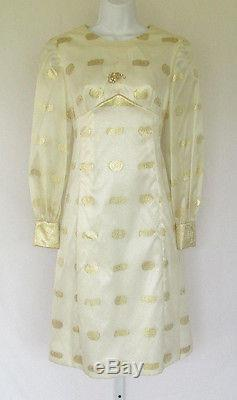 VINTAGE 1950s 60s LARRY ALDRICH DESIGNER DRESS SILK NYLON GOLDEN BROCADE LINED