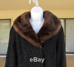 VINTAGE 1950s 60s PERSIAN LAMB BROADTAIL COAT MINK COLLAR BLACK FULLY LINED