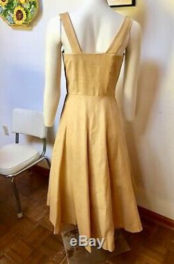 VINTAGE 1950s COTTON/SILK DRESS WITH MATCHING SCARF-PLEATED SWEETHEART BUST LINE