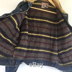 VINTAGE 1950s LEE 101 LJ STORM RIDER Blanket-Lined DENIM JACKET Indigo Selvedge