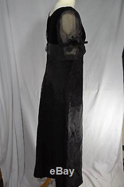 VINTAGE 1960s black full length empire line evening dress MELBRAY velvet 12/14