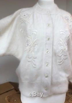 VINTAGE 1980s NEW 80% ANGORA LINED WHITE KNIT DOLMAN SLEEVE WEDDING JACKET