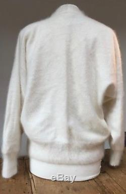 VINTAGE 1980s NEW 80% ANGORA LINED WHITE KNIT DOLMAN SLEEVE WEDDING JACKET