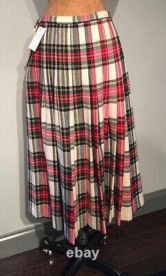 VINTAGE 1980s ROYAL DRESS STEWART TARTAN SKIRT PLEATED ALL AROUND LINED CDN14