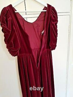 VINTAGE 80s LAURA ASHLEY Deep Red Burgundy Velvet Velour Ball Gown Dress 8-10
