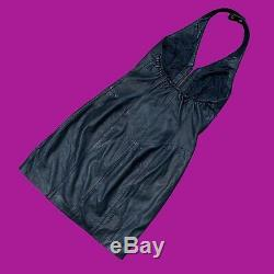 VINTAGE 90s Wilson Womens Halter Dress Black Leather Zipper Lined LBD