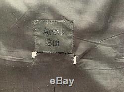 VINTAGE ANNA SUI WOMEN'S BLUE POLKA DOT SHEER OVERLAY LINED MIDI DRESS Size Sm