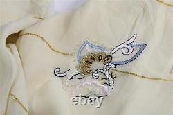 VINTAGE COAST Y2K Pale Lemon Bias Cut Chiffon Floral Embroidered Maxi Dress 12